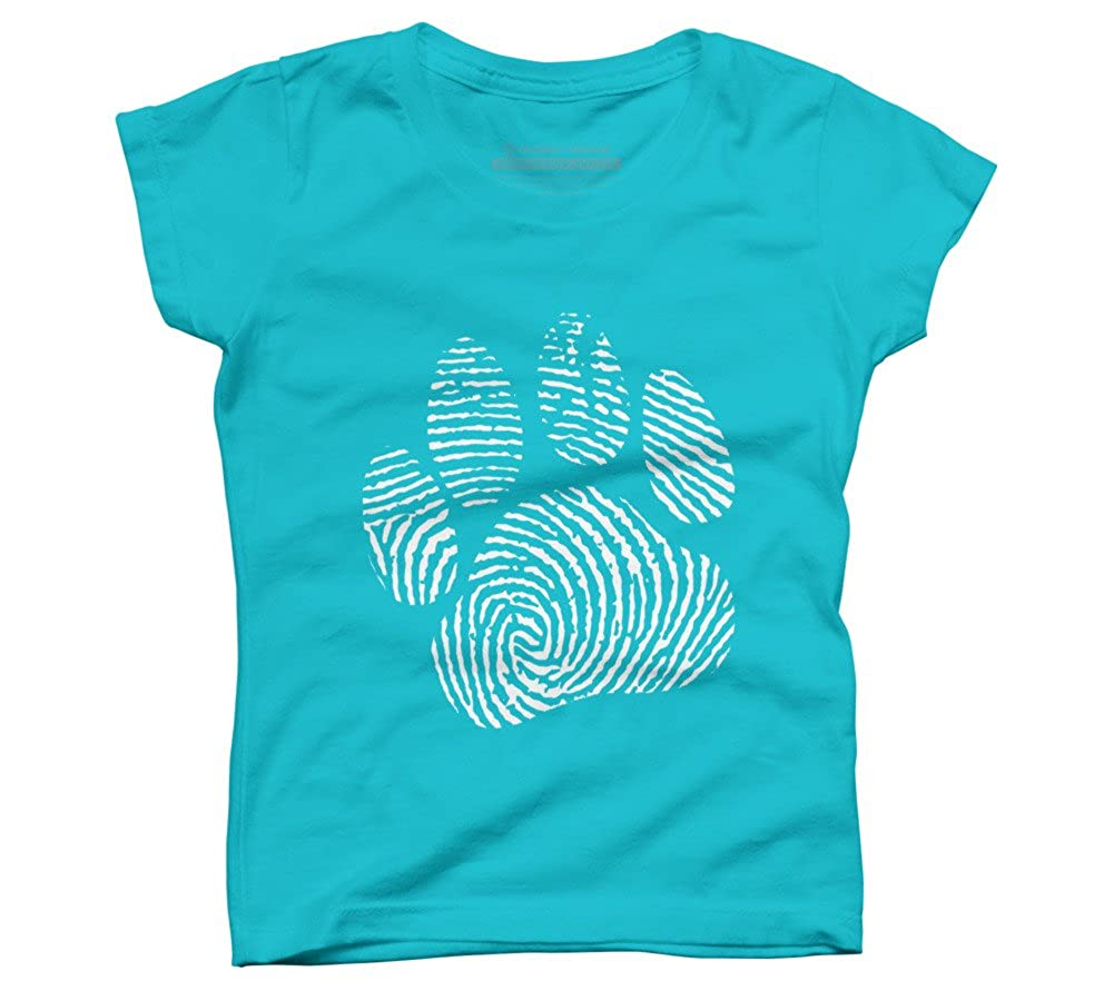 Design By Humans Paw Print Girls Youth Graphic T Shirt