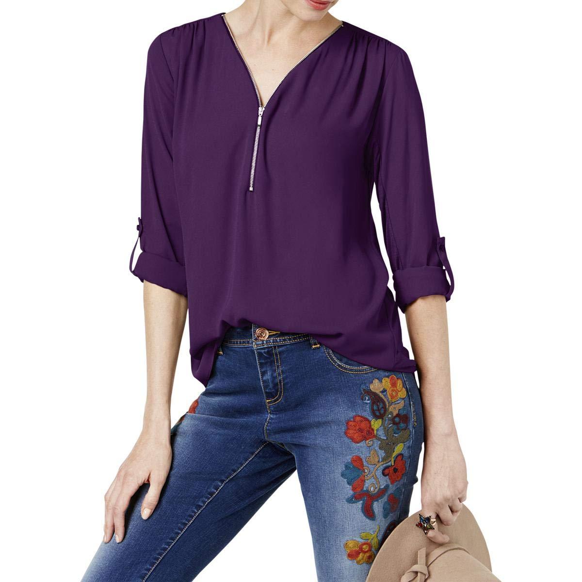 Purpleparadise INC Womens Mixed Media Utility Knit Blouse