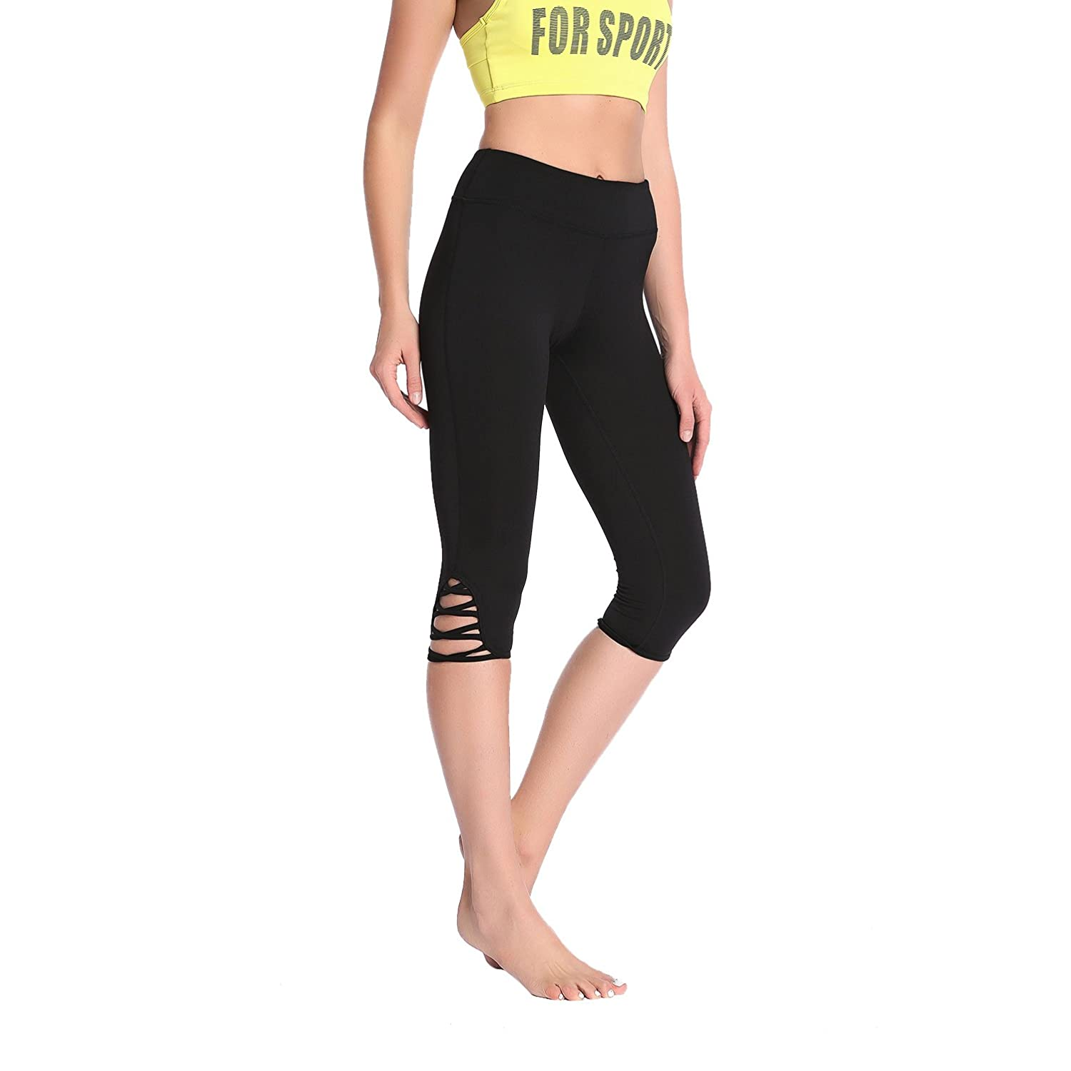5be53c1e9f Crisscross Strappy Workout Leggings with Hidden Pocket Yoga Pants for  Women, Pants - Amazon Canada