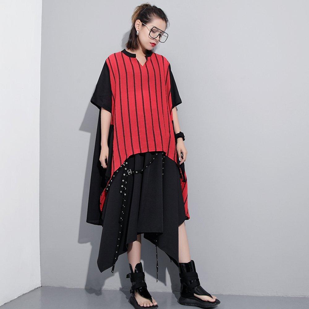 c865acfa5 MX Moda verano cosiendo rayas verticales con cuello en v camiseta mujer de  manga corta corta