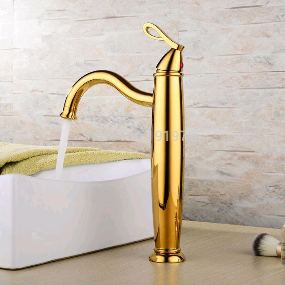 PST@ Unique Horizontal Bar Solid Brass High Body Gold Toilets Leading Faucet Luxurious Luxury Bathroom Sink Taps 60%OFF
