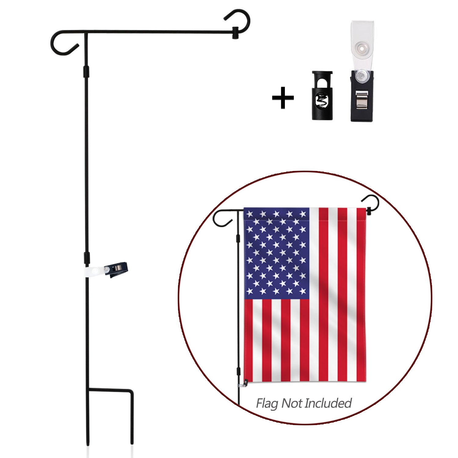 Anley |Garden Flag Stand| Premium Wrought Iron Garden Flag Pole Holder - Weather Resistant Black Matte Coating - Easy Assemble - FREE Flag Stopper and Anti-Wind Clip - 38 x 15 Inch