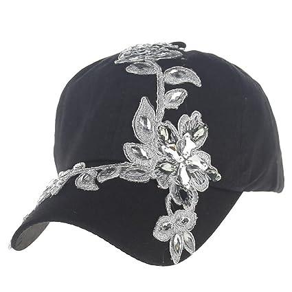 1eeec25e227 Amazon.com   Coohole Women New Fashion Rhinestones Hat Baseball Cap ...