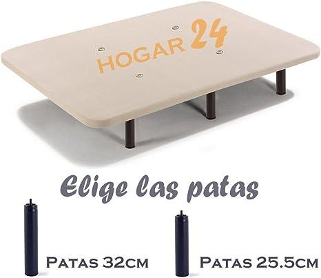 HOGAR24 Base TAPIZADA + 6 Patas DE Metal con Tejido 3D Y VÁLVULAS DE TRANSPIRACIÓN-135x190cm-PATAS 32CM