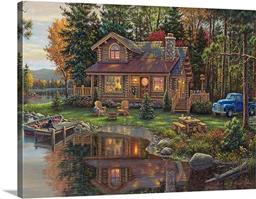 Kim Norlien Premium Thick-Wrap Canvas Wall Art Print entitled Peace Like a River Cabin