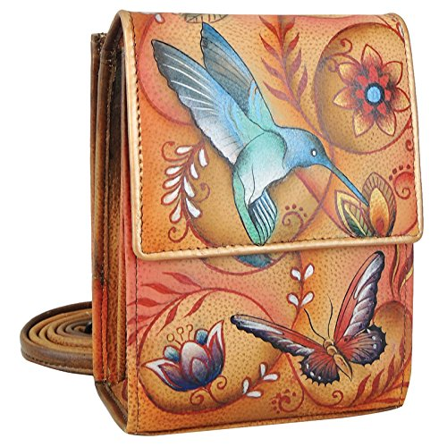 Mini Womens Leather Tan (Anuschka Women's Genuine Leather Mini Sling Organizer Bag | Cross Body Bag, Clutch Bag or Shoulder Bag | Chic & Stylish Organizer | Flying Jewels Tan)