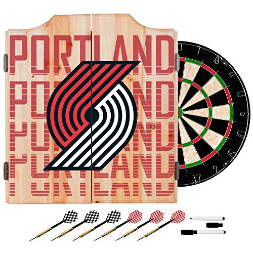 Trademark Gameroom NBA7010-PTB3 NBA Dart Cabinet Set with Darts & Board - City - Portland Trailblazers by Trademark Global