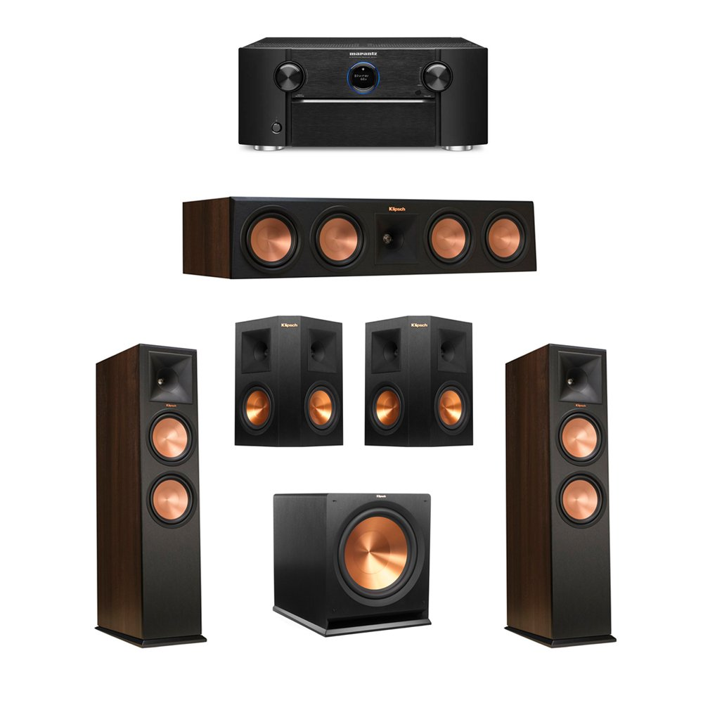 Klipsch 5.1 Walnut System with 2 RP-280F Tower Speakers, 1 RP-450C Center Speaker, 2 Klipsch RP-250S Ebony Surround Speakers, 1 Klipsch R-115SW Subwoofer, 1 Marantz SR7011 A/V Receiver