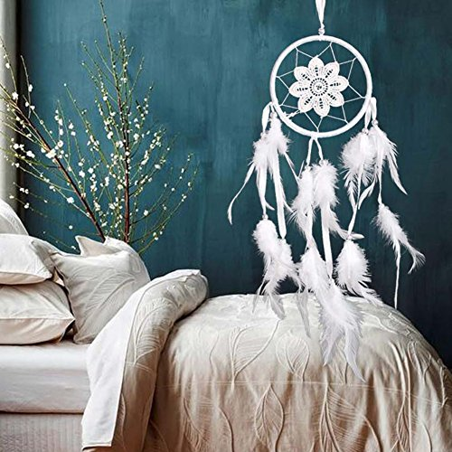 A Christmas Story Lamp Shade Costume (JD Million shop Handmade Lace Flower Indian Dream Catcher White Lace Feather Beads Wall/ Car/ House Hanging Decoration Sweet Dream Gift White)