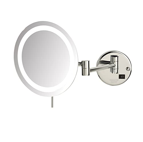 Sharper Image JRT718CL 8.5 Slimline Led Wall Mount 8x Magnifying Makeup Mirror, Chrome