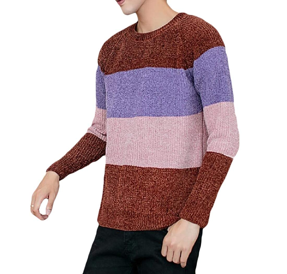 Mfasica Mens Splice Pullover Student Crew Neck Long Sleeve Knitted Sweater