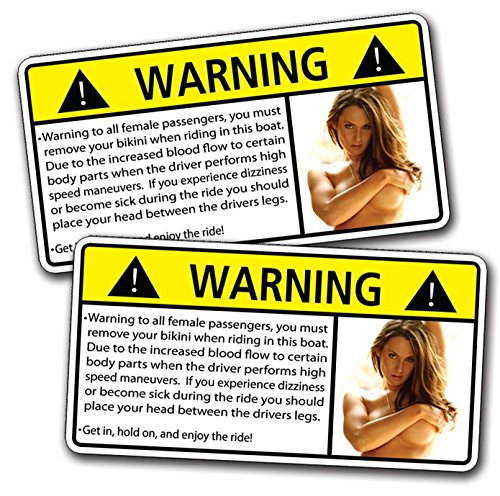 Amazoncom Boat Sexy Girl HOT Warning Decal Sticker Funny - Boat decals stickers   easy removal