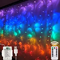 Window Curtain String Lights- 3M(H)*1.5M(W) USB Or Battery Operated 8 Modes with Remote & Timer Fairy Lights 200LED Indoor Outdoor Lights for Wedding Party Home Bedroom Wall,Multicolor