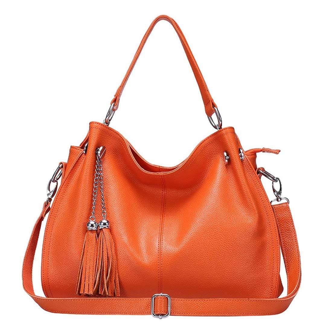 Sopetify Elegant Minimalist Style Casual Tassel Leather Bag Shoulder Messenger Messenger Bag Large Capacity Womens Totes Bags Color : Orange