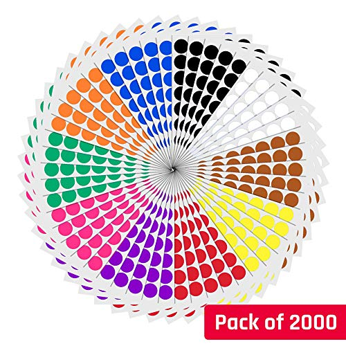 Sticker 10 ((3/4, 0.75 inch) Round Color Coding Circle Dot Sticker Labels - 10 Assorted Colors, Pack of 2000)