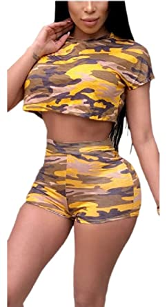 094f3e86168 TTYLLMAO Womens Camo 2 Piece Crop Top and Shorts Jumpsuit Outfits Yellow  XL: Amazon.co.uk: Clothing