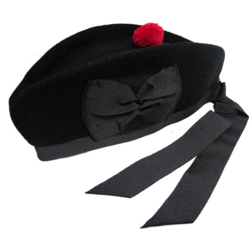 New Glengarry plain Black Wool Scottish Bagpipe /Kilt Hat (7 1/4 - ( UK 58 ))