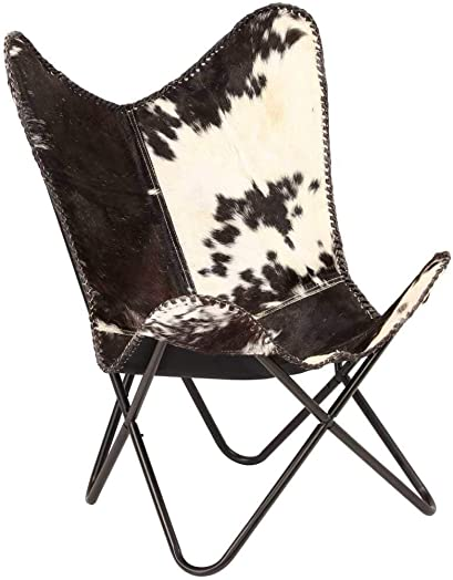 vidaXL Genuine Goat Leather Butterfly Chair Black White Armchair Furniture