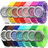 Estone Geneva Fashion Crystal Jelly Gel Silicon Girl Women's Quartz Wrist Watch