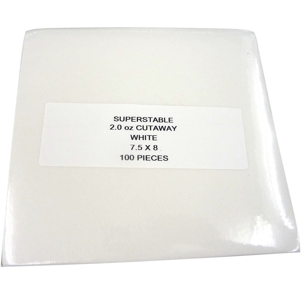 Cut Away Stabilizer White 2.0 oz 100 Precut Sheets 7.5 inch x 8 inch. SuperStable Embroidery Stabilizer Backing Superpunch