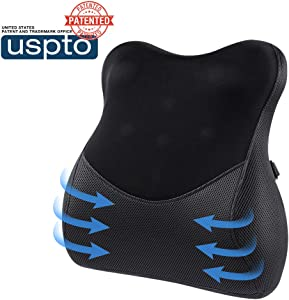 Mkicesky Lumbar Support Pillow for Chair Memory Foam Back Support Cushion, Ergonomic Orthopedic Backrest Relief Lower Back Pain with Massage Nodes for Car Seat, Office Chair, Wheelchair and Recliner