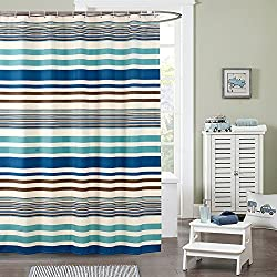Uforme Mediterranean Sea Style Horizontal Stripes Blue Shower Curtain Polyester Waterproof Bathroom Partition Shower Curtain 180x200cm