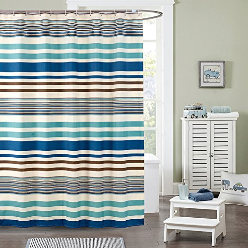 Uforme Mediterranean Sea Style Horizontal Stripes Blue Shower Curtain Polyester Waterproof Bathroom Partition Shower Curtain 180x200cm
