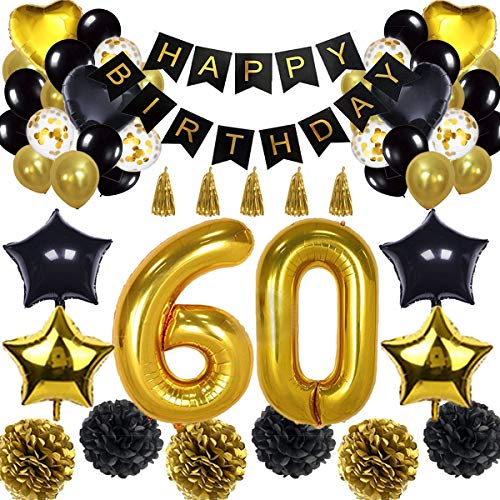 60th Birthday Decorations Balloon Banner - Happy Birthday Banner, 60th Gold Number Balloons, Black and Gold, Number 60 Birthday Balloons, 60 Years Old Birthday Decoration Supplies]()