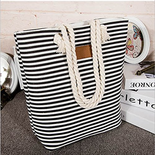 Stripes Summer Cotton Canvas Rope Bag for with Beach Women Shoulder Blue Travel Handle Tote Bag Large 7aaw5
