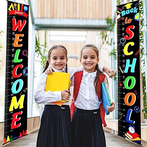Back to School Decoration First Day of School Banner Welcome School Bulletin Board Porch Sign Welcome Classroom Banner Teacher Banner for Indoor/Outdoor School Decoration School Party (Black)