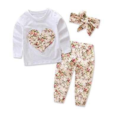 aed534ecd167 Amazon.com  Heart Tops+Floral Pants Headband Outfits Set Suit Vibola Infant  3PCS  Clothing