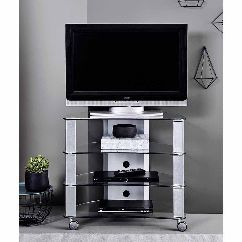 Pharao24 - Mesa de TV con Ruedas (Aluminio y Cristal): Amazon.es ...