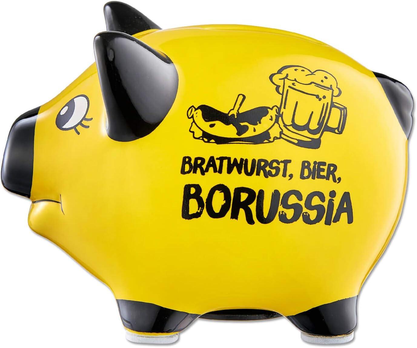 Borussia Dortmund BVB 09 Tirelire en Forme de Cochon avec Inscription en Allemand /« Bier Borussia /»