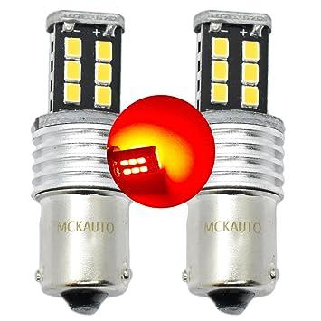 15SMD P21 W rojo parada frenos bombillas LED Canbus luz trasera BA15S 1156 contrario pins eb6r4