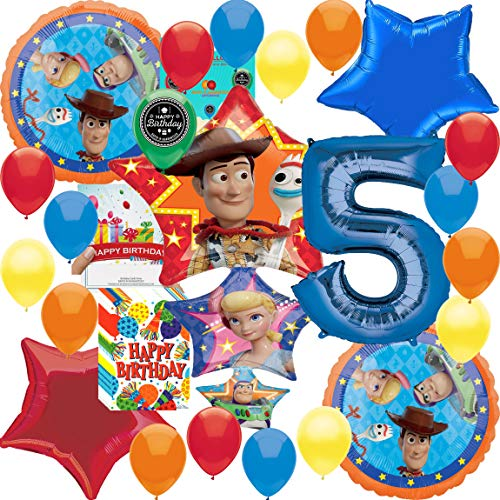 (Toy Story 4 Party Supplies Balloon Decoration Deluxe Bundle with Birthday Card and Happy Birthday Treat Bags (5th Birthday) )