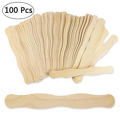 "Auction Paddle Sticks 8/"" Wooden Fan Handles Wedding Program Fan Handles by Woodpeckers Bag of 200 Natural Wood Jumbo Wavy Fan Paddle Sticks Craft Sticks Jumbo Wavy Popsicles"