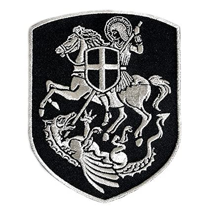 VEGASBEE ST George ON Horse Slaying Dragon Cross Shield Christian Patch  Silver Embroidery