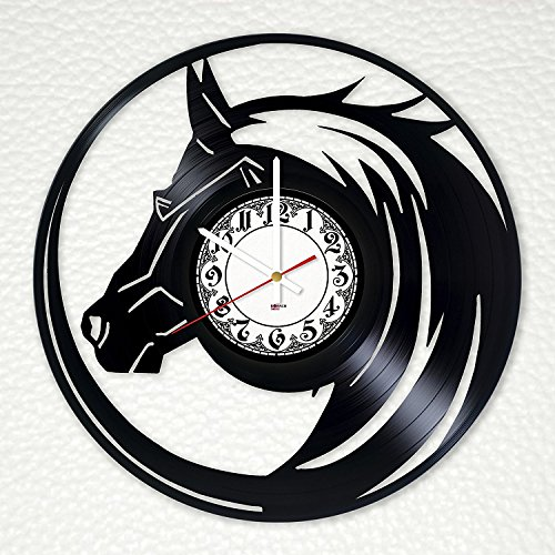 Horse Gift Vinyl Record Wall Clock - Get unique home room or living room wall decor - Gift ideas for parents, mother and father Wild Animals Unique Art Design ()