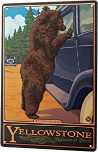 LEotiE SINCE 2004 Tin Sign Metal Plate Decorative Sign Home Decor Plaques Holiday Travel Agency Yellowstone