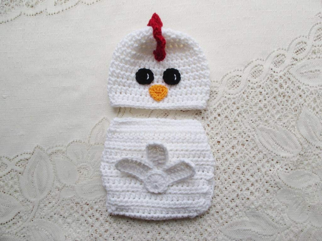 Amazoncom Crochet Baby Chicken Hat And Diaper Cover Set Photo
