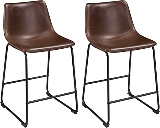 Signature Design By Ashley Centiar 24 Counter Height Modern Bucket Barstool Set Of 2 Brown Furniture Decor