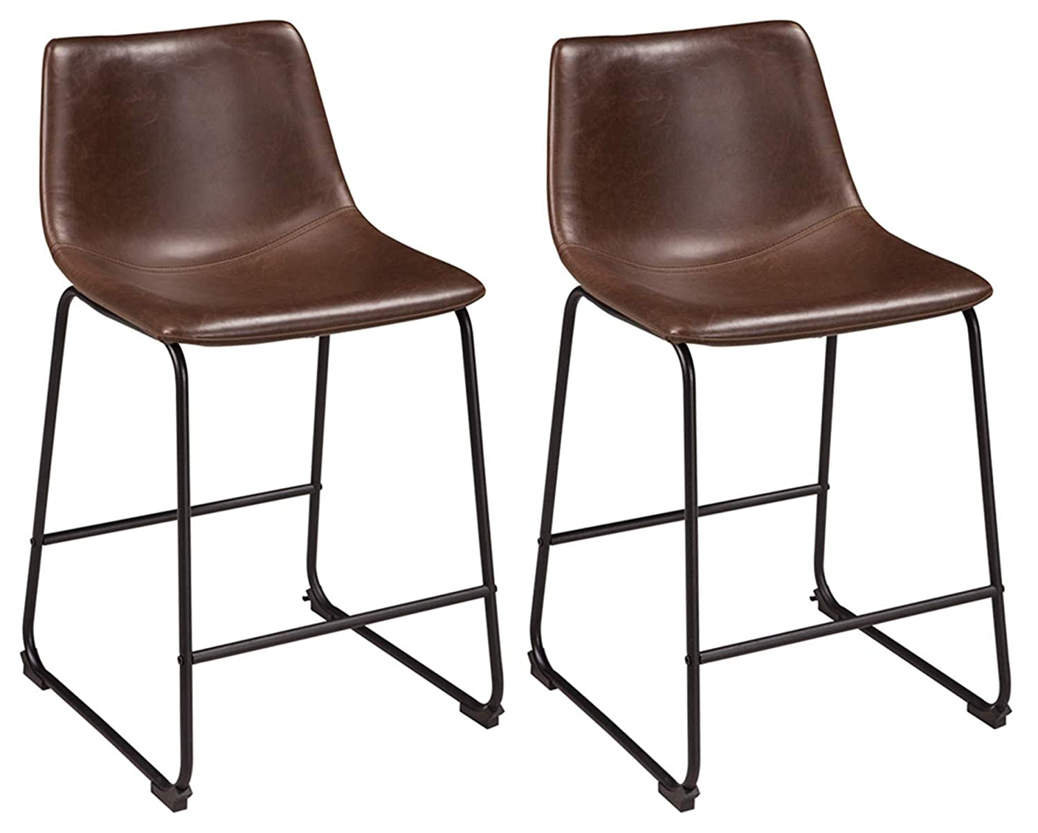 Ashley Furniture Signature Design - Centiar Counter Height Barstool - Set of 2 -Mid Century Modern Style - Black Metal Base - Brown Faux Leather Bucket Seat