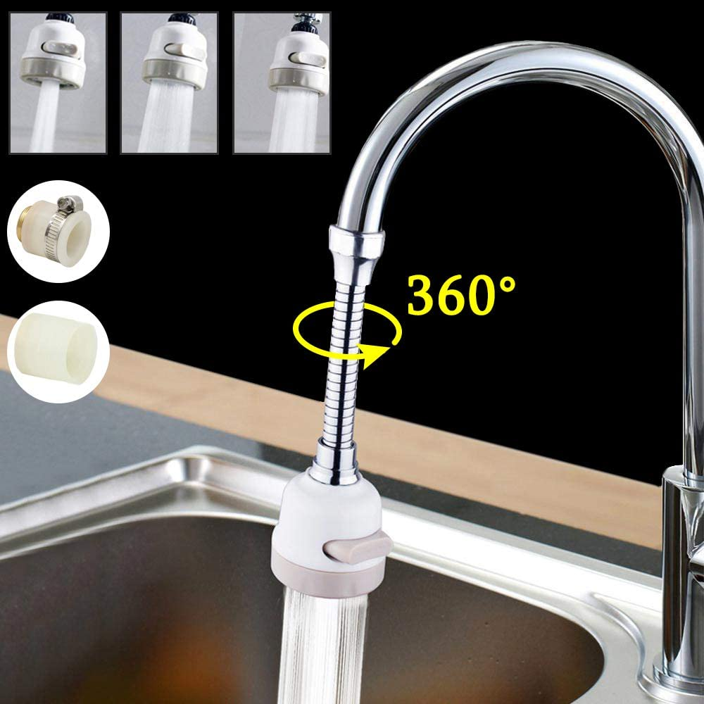 BLI ABS Kitchen Shower Faucet Aerators Rotatable Bubbler Faucets Head Extender Water Saving Tap Nozzle Adapter Sink Accessories silver