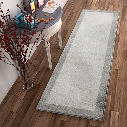 Well Woven Frontier Border Grey Modern Plain 2×7 2 3 x 7 3 Runner Area Rug Simple Geometric Pattern Contemporary Thick Soft Plush