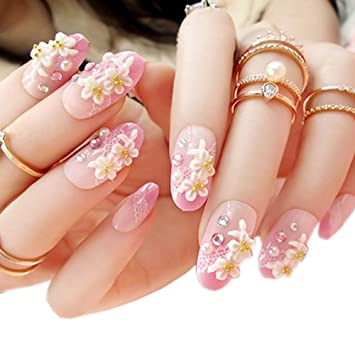 Charming Wedding Bridal French Nails Fake Nail Rhinestones Nail Art