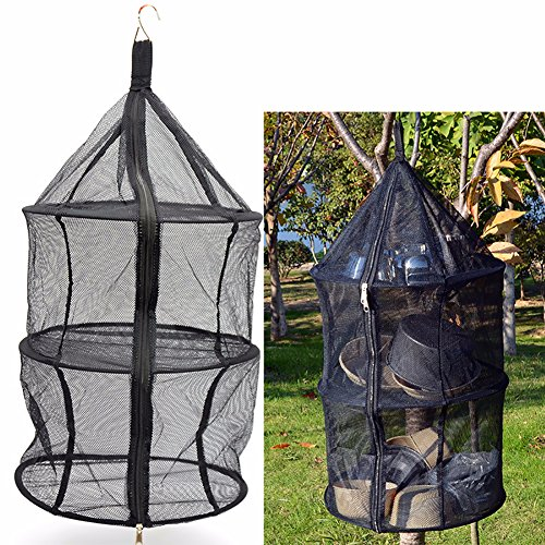Leegoal Hanging Drying Net, 3 Layer Camping Nylon Folding Dr