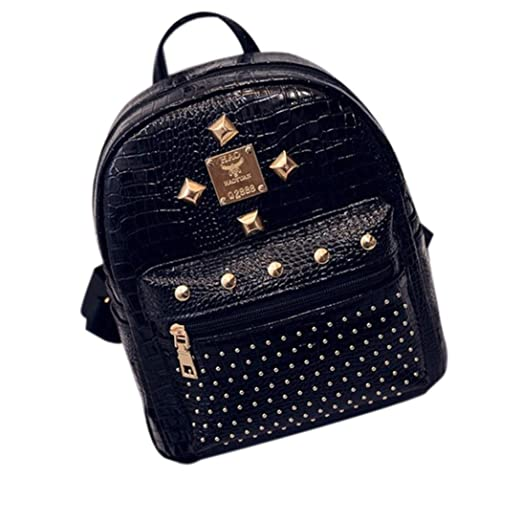 AMA(TM) Women Leather Shoulder Bag Schoolbag Travel Camping Backpack