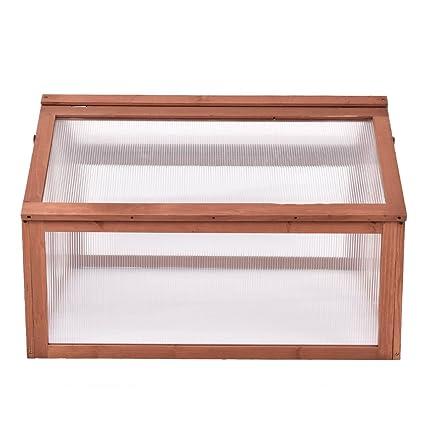 Amazon.com : Double box wooden frame garden cold frame greenhouse ...