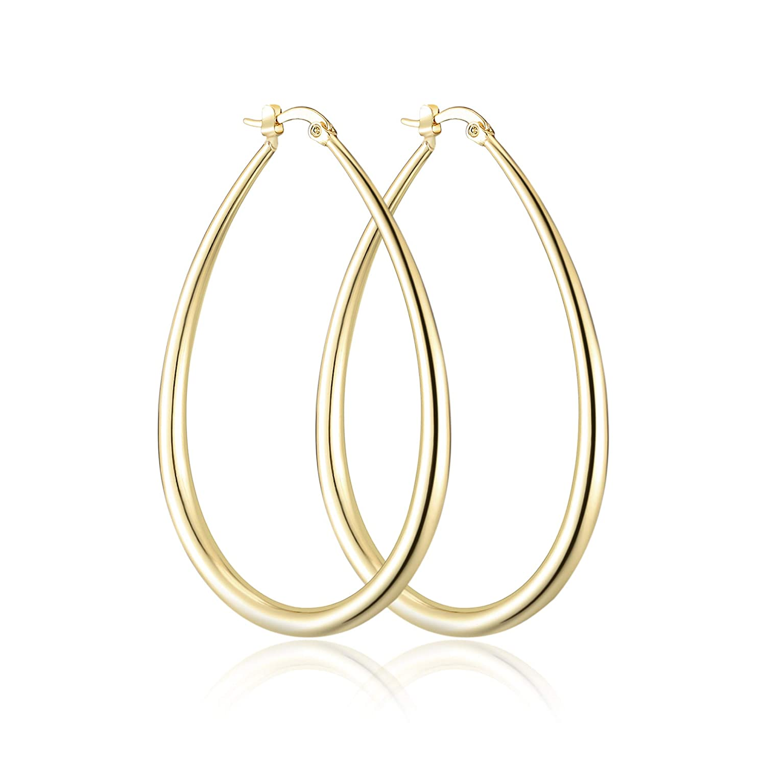 dnswez 14K Gold Plate Big Teardrop Earrings Simple Circle Hoop Statement Earring for Women Girl Fashion Jewelry