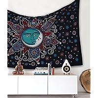 Artesanías populares Sol Luna Bohemio Psicodélico Intrincado Diseño floral Colcha india Pensamiento mágico Tapiz 54x82 Pulgadas, (140x210cms) Turco negro
